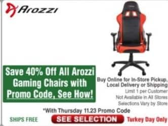 Frys Black Friday: All Arozzi Gaming Chairs - 40% Off