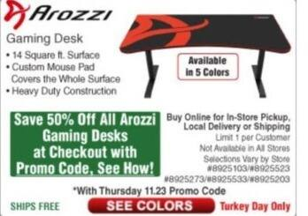 Frys Black Friday: All Arozzi Gaming Desks - 50% Off