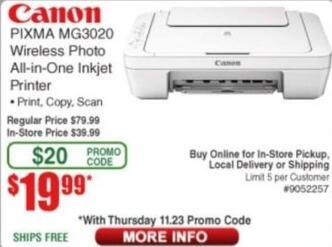 Frys Black Friday: Canon PIXMA MG3020 Wireless Photo All-in-One Inkjet Printer for $19.99