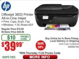 Frys Black Friday: HP Officejet 3833 All-in-One Inkjet Printer for $39.99