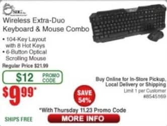 Frys Black Friday: SIIG Wireless Extra-Duo Keyboard and Mouse Combo for $9.99