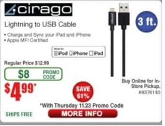 Frys Black Friday: Cirago Lighting to USB Cable for $4.99
