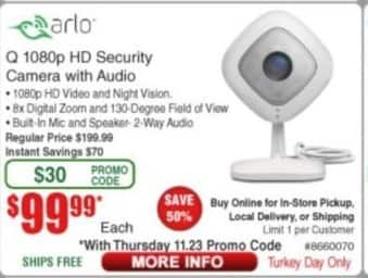 Frys Black Friday: Arlo Q 1080p HD Security Camera with Audio for $99.99