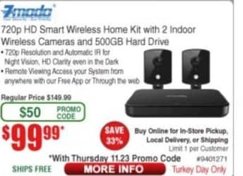 Frys Black Friday: Zmodo 720p HD Smart Wireless Home Kit with 2 Indoor Wireless Cameras and 500GB HD for $99.99
