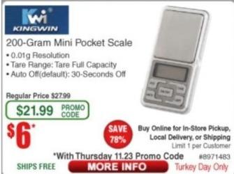 Frys Black Friday: Kingwin 200-Gram Mini Pocket Scale for $6.00