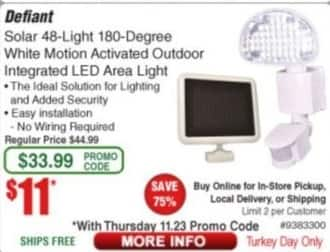 Frys Black Friday: Defiant Solar 48-Light 180-Degree White Motion Activated Outdoor Integrated LED Area Light for $11.00