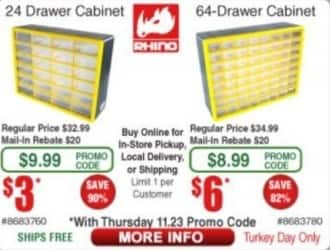 Frys Black Friday: 24-Drawer or 64-Drawer Cabinet for $3.00 - $6.00