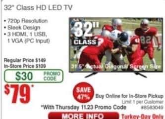 "Frys Black Friday: 32"" KC32V3 Class HD LED TV for $79.00"