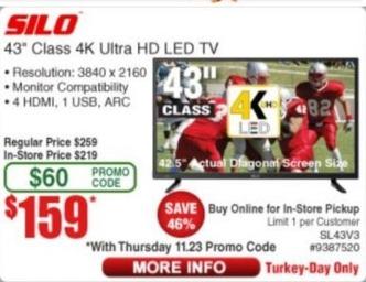 """Frys Black Friday: 43"""" Silo SL43V3 Class 4K Ultra HD LED TV for $159.00"""