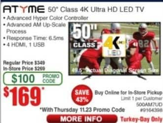 "Frys Black Friday: 50"" Atyme 500AM7UD Class 4K Ultra HD LED TV for $169.00"