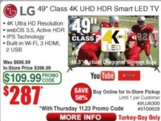 "Frys Black Friday: 49"" LG 49UJ6300 Class 4K UHD HDR Smart LED TV for $287.00"