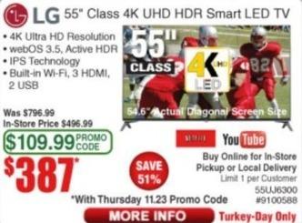 "Frys Black Friday: 55"" LG 55UJ6300 Class 4K UHD HDR Smart LED TV for $387.00"