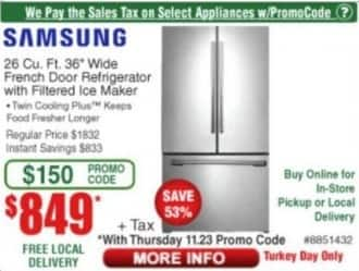 """Frys Black Friday: 26 cu-ft. 36"""" Samsung Wide French Door Refrigerator with Filtered Ice Maker for $849.00"""
