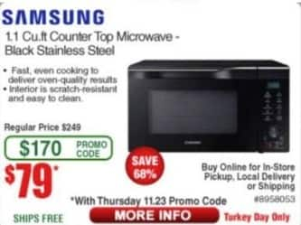 Frys Black Friday: Samsung 1.1 cu-ft. Counter Top Microwave for $79.00