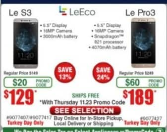Frys Black Friday: LeEco Le Pro3 Smartphone for $189.00