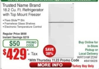 Frys Black Friday: Trusted Name Brand 18.2 cu-ft. Refrigerator with Top Mount Freezer for $429.00