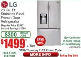 Frys Black Friday: LG 28 cu-ft. Stainless Steel French Door Refrigerator for $1,499.00