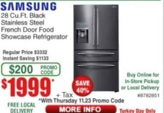 Frys Black Friday: Samsung 28 cu-ft. Black Stainless Steel French Door Food Showcase Refrigerator for $1,999.00