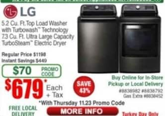 Frys Black Friday: LG 5.2 cu. ft. Top Load Washer with Turbowash Technology or 7.3 cu-ft. Ultra Large Capacity TurboSteam Electric Dryer for $679.00