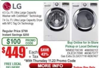 Frys Black Friday: LG 4.5 cu-ft. Ultra Large Capacity Washer with ColdWash Technology or 7.4 cu-ft. Ultra Large Capacity Dryer with NFC Tag on Technology for $449.00
