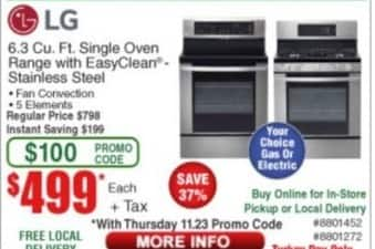 Frys Black Friday: LG 6.3 cu.-ft. Single Oven Range with Easyclean Stainless Steel for $499.00