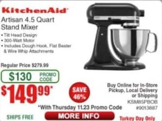 Frys Black Friday: KitchenAid Artisan 4.5 Quart Stand Mixer for $149.99