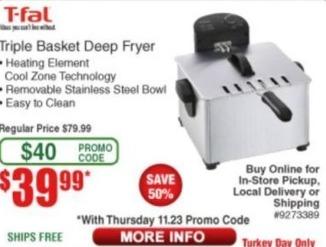 Frys Black Friday: T-Fal Triple Basket Deep Fryer for $39.99