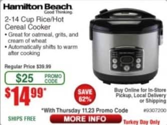 Frys Black Friday: Hamilton Beach 2-14 Cup Rice/Hot Cereal Cooker for $14.99