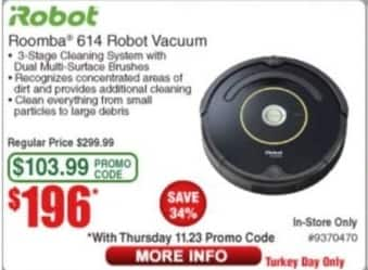 Frys Black Friday: iRobot Roomba 614 Robot Vacuum for $196.00