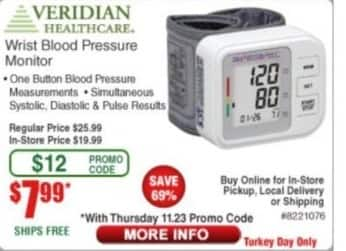 Frys Black Friday: Veridian Healthcare Wrist Blood Pressure Monitor for $7.99