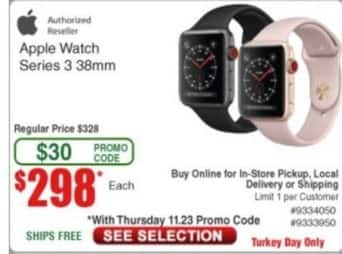 Frys Black Friday: Apple Watch Series 3 38mm for $298.00