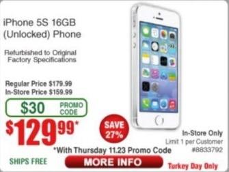 Frys Black Friday: iPhone 5S 16GB Phone (Unlocked/Refurb) for $129.99