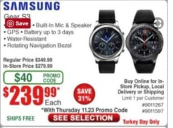 Frys Black Friday: Samsung Gear S3 for $239.99