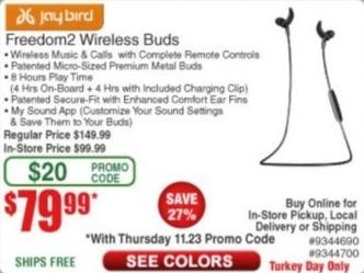 Frys Black Friday: Jaybird Freedom2 Wireless Buds for $79.99