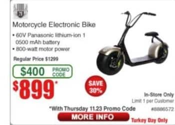 Frys Black Friday: Motorcycle Electronic Bike for $899.00