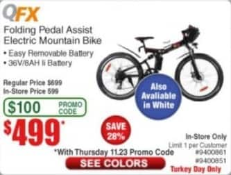 Frys Black Friday: QFX Folding Pedal Assist Electric Mountain Bike for $499.00
