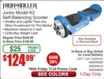 Frys Black Friday: High Roller Junior Self-Balancing Scooter Model K2 for $124.99