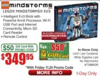 Frys Black Friday: Lego Mindstorms EV3 + $50 Fry's Gift Card for $349.95
