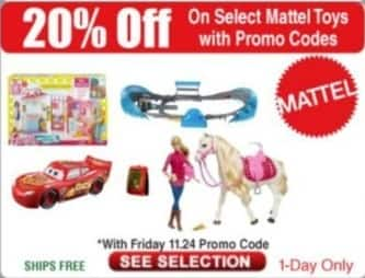 Frys Black Friday: Select Mattel Toys - 20% Off