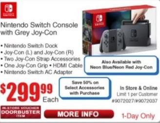 Frys Black Friday: Nintendo Switch Console w/ Grey Joy-Con for $299.99