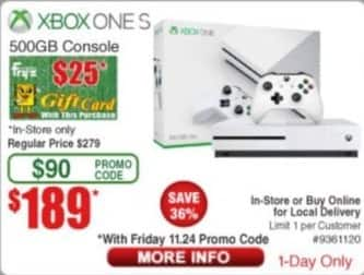 Frys Black Friday: Xbox One S 500GB Console + $25 Fry's Gift Card for $189.00