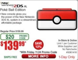 Frys Black Friday: New Nintendo 2DS XL Poke Ball Edition for $139.99