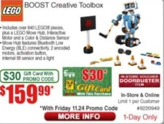 Frys Black Friday: Lego Boost Creative Toolbox +$30 Frys Gift Card for $159.99