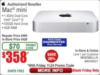 Frys Black Friday: Mac Mini: 15, 4GB, 500GB HD for $358.00