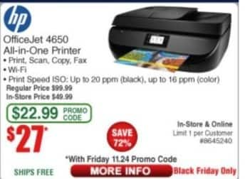 Frys Black Friday: HP Officejet 4650 All-in-One Printer for $27.00