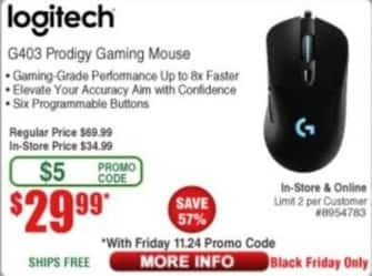 Frys Black Friday: Logitech G403 Prodigy Gaming Mouse for $29.99