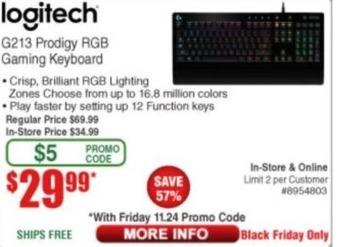 Frys Black Friday: Logitech G213 Prodigy RGB Gaming Keyboard for $29.99