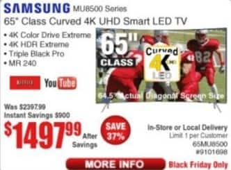 "Frys Black Friday: 65"" Samsung 65MU8500 Class Curved 4K UHD Smart LED TV for $1,497.99"