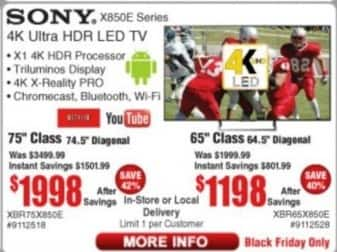 "Frys Black Friday: 75"" Sony XBR75X850E 4K Ultra HDR LED TV for $1,998.00"