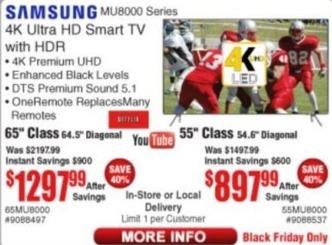 "Frys Black Friday: 55"" Samsung 55MU6000 4K Ultra HD Smart HDR TV for $897.99"